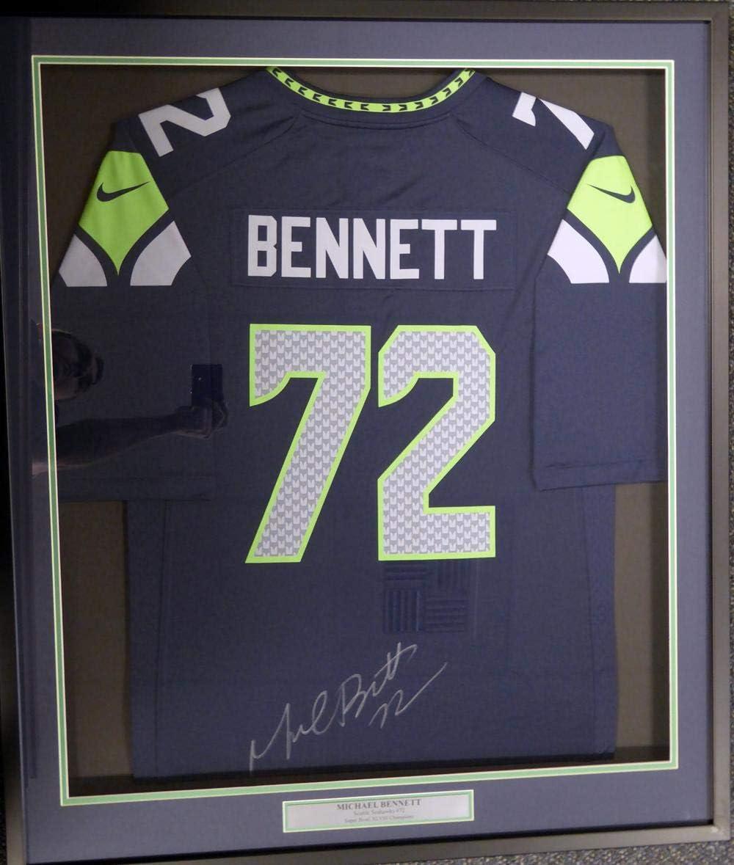 Seattle Seahawks Michael Bennett Autographed Framed Blue Nike ...