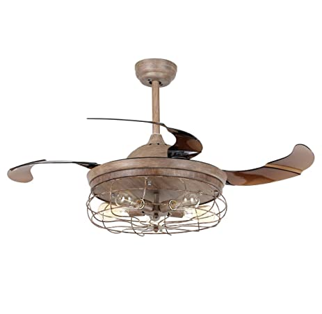 Parrot Uncle Ceiling Fans With Lights 42u0027u0027 Vintage Farmhouse Fan Industrial  Chandelier Fans With