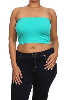 c658efe5302ec Womans Trendy Plus Size Soft Seamless Bandeau Tube Top Queen Size … Top  Fashion