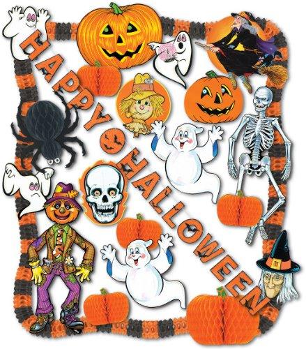 "Halloween Decorating Kit - 24 Pcs [4 Pieces] *** Product Description: Halloween Decorating Kit - 24 Pieces. Made In Usa. Includes:1 - 18"" Black Tissue Spider1 - 18"" Tissue Pumpkin4 - 10"" Tissue Pumpkins1 - 3'8"" Art Print Jointed Skeleton1 - 3'2"" ***"