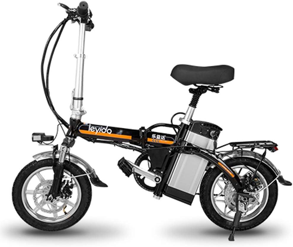 Hxl Bicicletas electricas Bicicleta eléctrica portátil Plegable Inteligente de Aluminio de 14 con 48v batería de Iones de Litio E-Bike 400w Motor Potente Máximo,Negro,85KM: Amazon.es: Hogar
