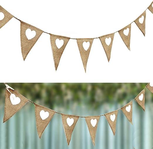 Jute Fabric Vintage Garland Bunting Xmas Wedding Party Decor Burlap Flags Banner