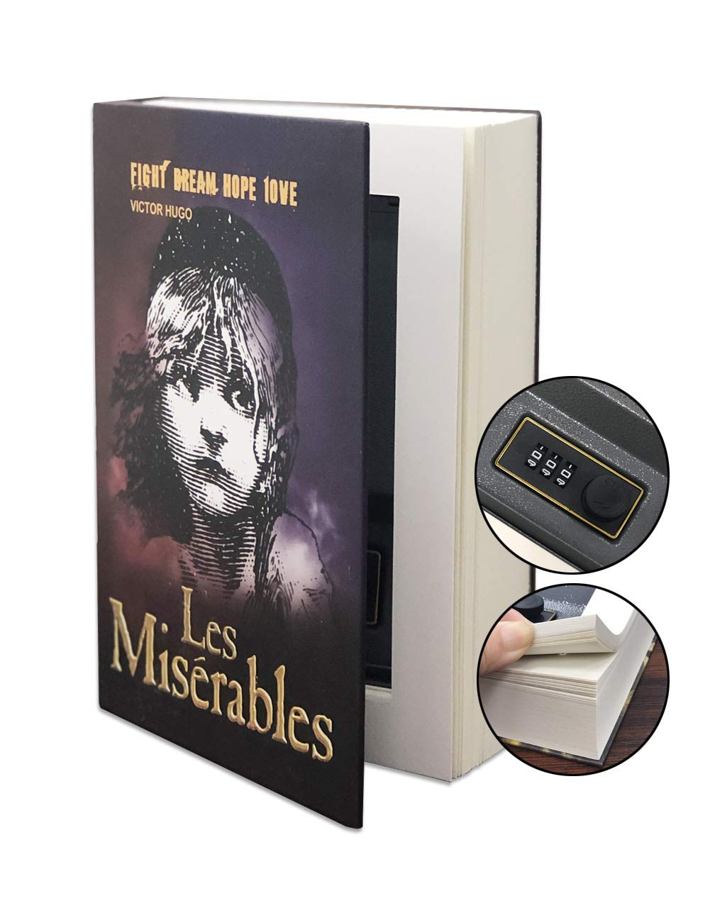 Hidden Safe Book Box Money Cash with Real Page (Les Miserables)