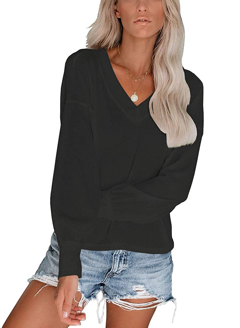 INFITTY Womens V Neck Long Sleeve Casual Off The Shoulder Tops Shirts Oversized Pullover Sweater