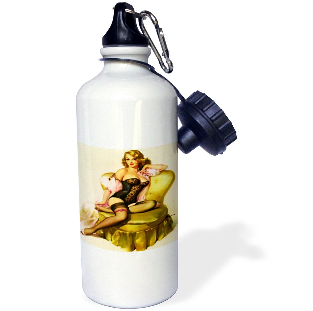3dRose Print of Elvgren Pinup Waiting for You in Lingerie-Sports Water Bottle 21 oz Multicolor wb/_204079/_1 21oz
