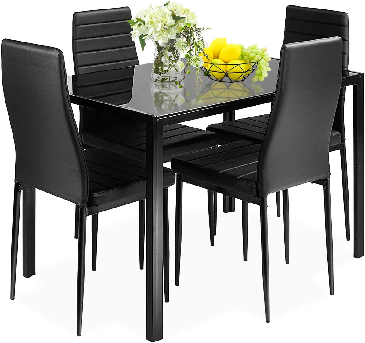 Amazon Com Giantex 5 Piece Kitchen Dining Table Set With Glass Table Top Leather Padded 4 Chairs And Metal Frame Table For Breakfast Dining Room Kitchen Dinette Black Table Chair Sets