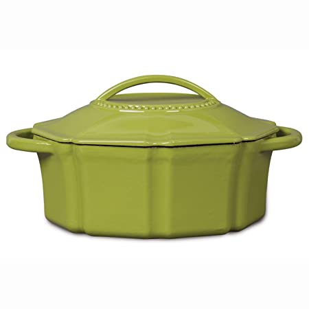 Isaac Mizrahi 6 qt Cast Iron Dutch Oven with Lid – Lime Green
