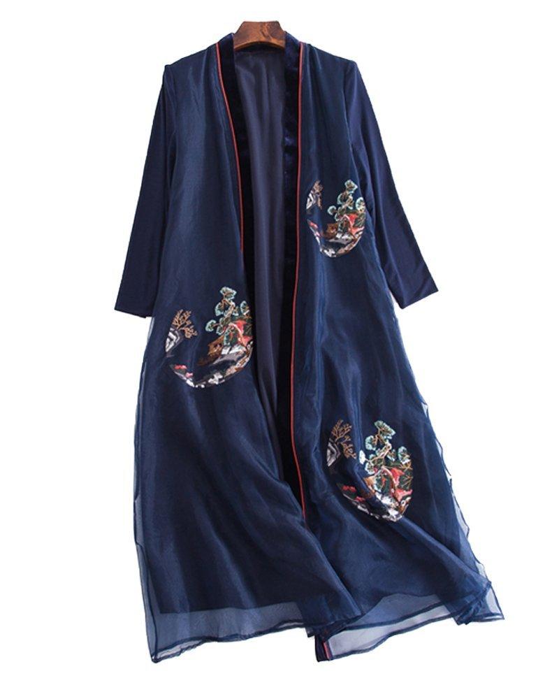 UAISI2018 Women 100% Mulberry Silk Long Dress Casual Summer EMB Skirt (M, Blue)