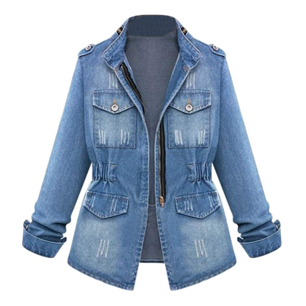 Jinjiums Womens Jacket, Long-Sleeve Distressed Zip Up Classic Trucker-Jackets Stretch Denim Jacket Plus Size