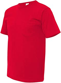 product image for Bayside Adult Short-Sleeve Cotton Tee with Pocket - Red - 3XL