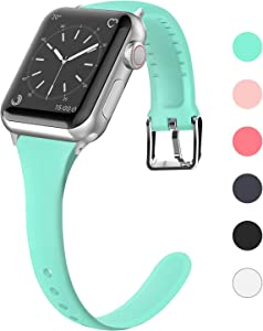 Lwsengme Compatible for Apple Watch Band 38mm 40mm 42mm 44mm, Silicone Slim Women iWatch Bands Wristband Compatible for Apple Watch Series 4 3 2 1 (Mint Green, 38mm/40mm)