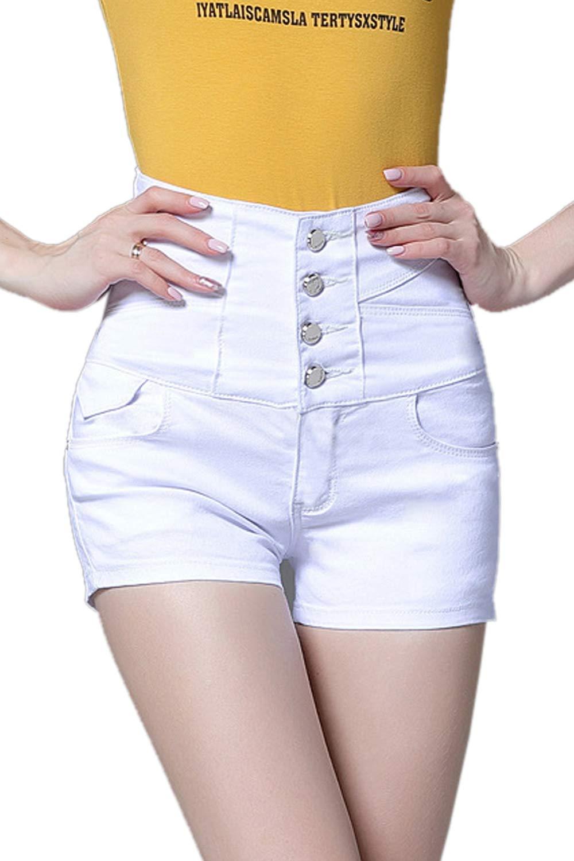 Yacun Women Shorts Jeans Basic High Wasit Denim Hot Pants Party White XL