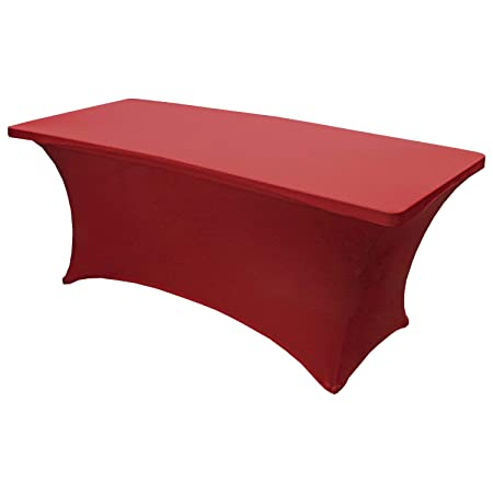Snap Drape Table in a Snap – 6 Foot 400 lb Capacity Center Folding Table w Fitted Cover, Red