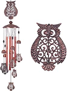 Owl Wind Chimes Outdoor Indoor Decor -With 4 Aluminum Tubes 6 Bells 7 Owls 37Inch Waterproof Mobile Romantic Wind Catcher Owl Windchimes for Home, Xmas Mom Gifts, Balcony, Festival, Garden Decoration