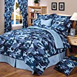 Blue Camouflage Curtains - 2 Panels - 42 x 84