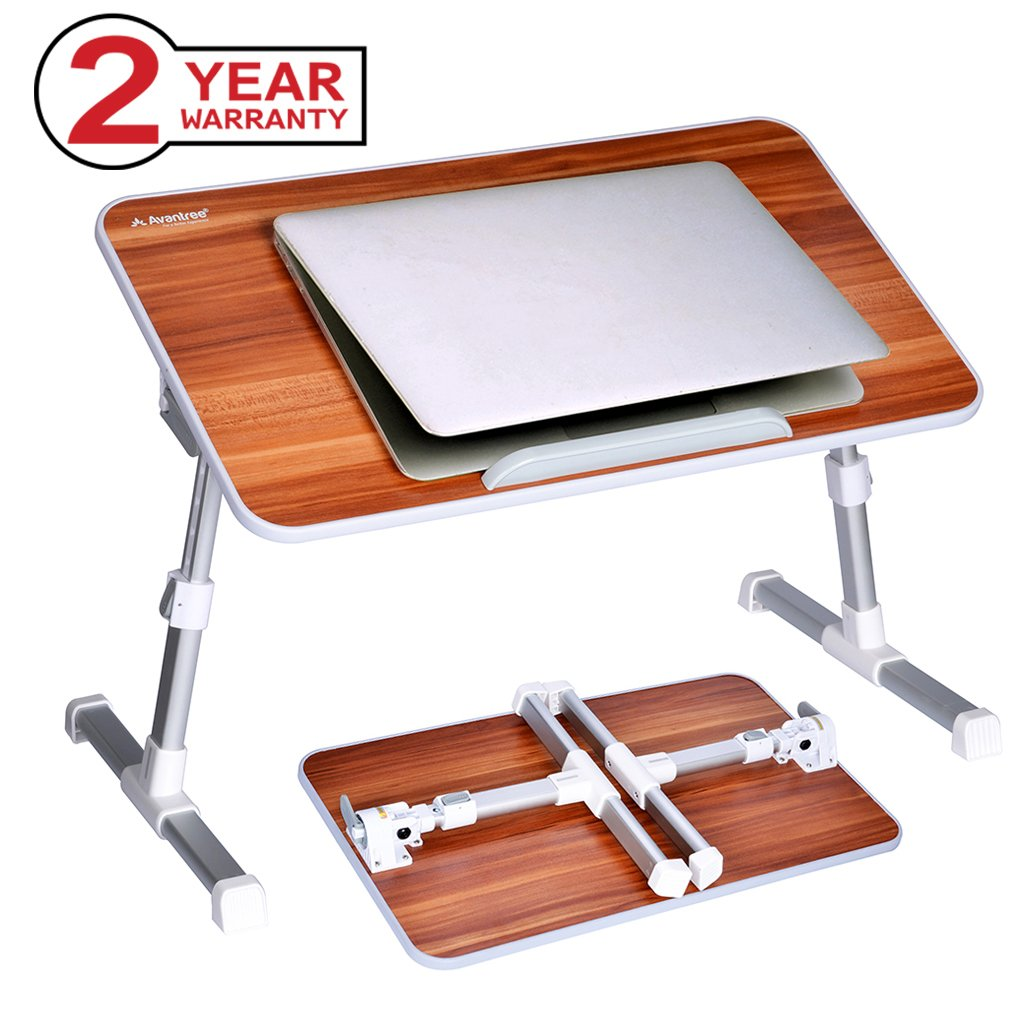 Neetto Adjustable Laptop Table, Portable Standing Bed Desk, Foldable Sofa Breakfast Tray, Notebook Stand Reading Holder for Couch Floor - Minitable American Cherry Avantree HDLP-TB101-RED1
