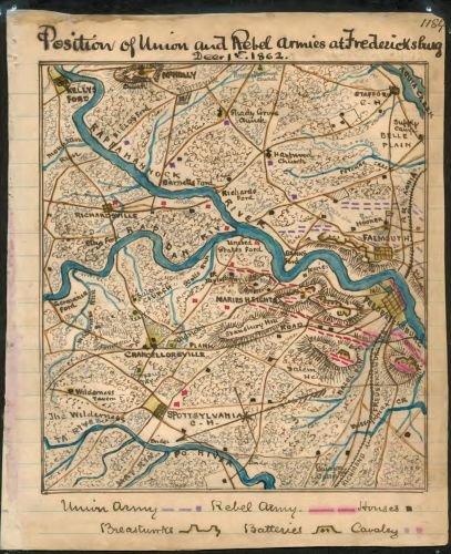 1862 Map Position of Union and Rebel armies at Fredericksburg, Decr. 1st 1862 Map shows the area surrounding Fredericksburg, Va., including Spotsylvania Courthouse, Chancellorsville and Falmouth, - Spotsylvania Va Fredericksburg