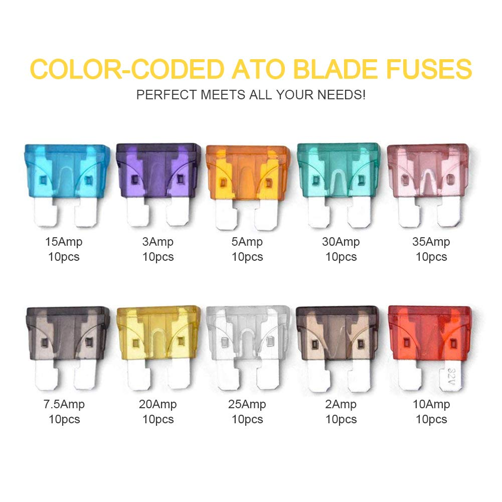 200Pcs Car Blade Fuses Assortment Set with Mini Puller - ECLEAR Standard Durable Assorted Fuses Replacement Kit - 2A 3A 5A 7.5 A 10A 15A 20A 25A 30A 35A Puller for Auto Truck Boat Marine RV SUV