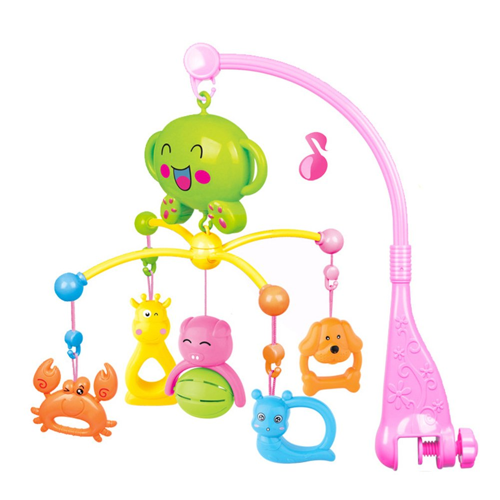 TOMNEW Musical Baby Mobile, Baby Infant Bedding Hanging Bells Animal Rotation Bells Toy, Music Box Holder Cartoon Animal Crib Cot Nursery Mobiles for Girls and Boys (Pink)