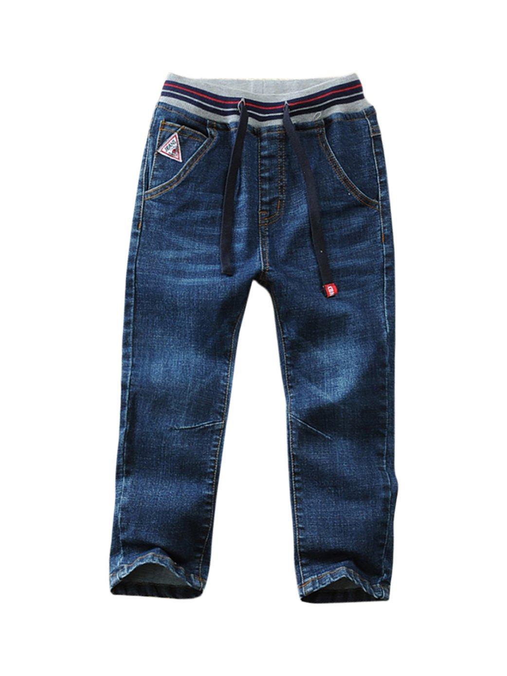 LISUEYNE Baby Boy Summer Spring Casual Blue Jean Long Holey Ripped Basic Jeans Elastic Band Denim Long Jeans For Boys