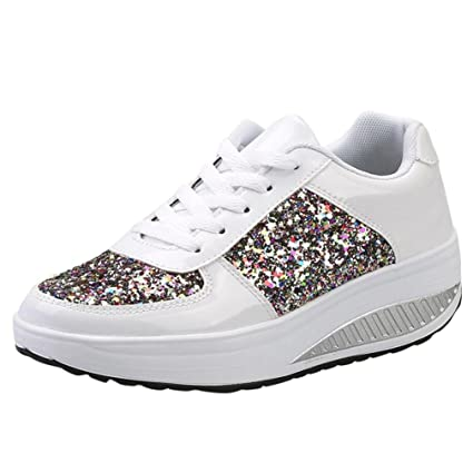 56d1b0c846baf Clearance! Women Sneakers, Neartime 2018 Fashion Ladies Wedges Casual  Sneakers Sequins Lace-Up Shoes Girls Sport Shoes (US:5, White)