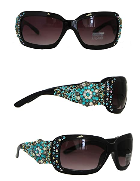 Montana West UV400 Sunglasses Rhinestones Floral Concho Over Beads