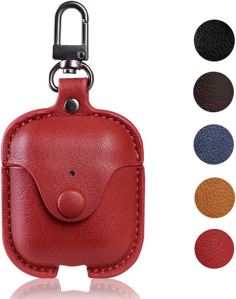 Leather Case with Keychain for Apple AirPods, Yoelike Vintage Shock Resistant Protective Case Cover and Skin for Apple AirPods Charging Case (PU-Red)