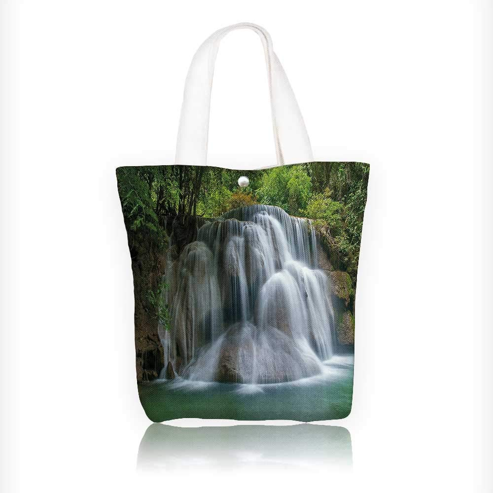 Canvas Tote Bags Waterfall with Green Thai Exotic Bushes each side Artwork Green Design Your Own Party Favor Pack Tote Canvas Bags by Big Mo's Toys W11xH11xD3 INCH