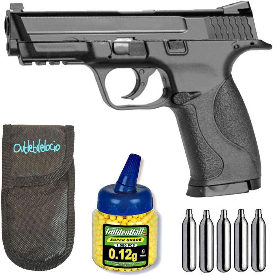 Outletdelocio.. Pistola Airsoft KWC M40. Corredera Metalica + Funda Portabalines + Biberon 1000 Bolas + bombonas Co2. 23054/21993/29318