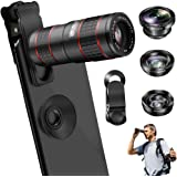 Phone Camera Lens, VPKID 2 in 1 Cell Phone Lens Kit 12X Zoom Telephoto Lens with Telescope Dual Focus Monocular with Universal Clip Compatible with iPhone X XS Max 8 7 6S Plus Samsung S9 S8 Android
