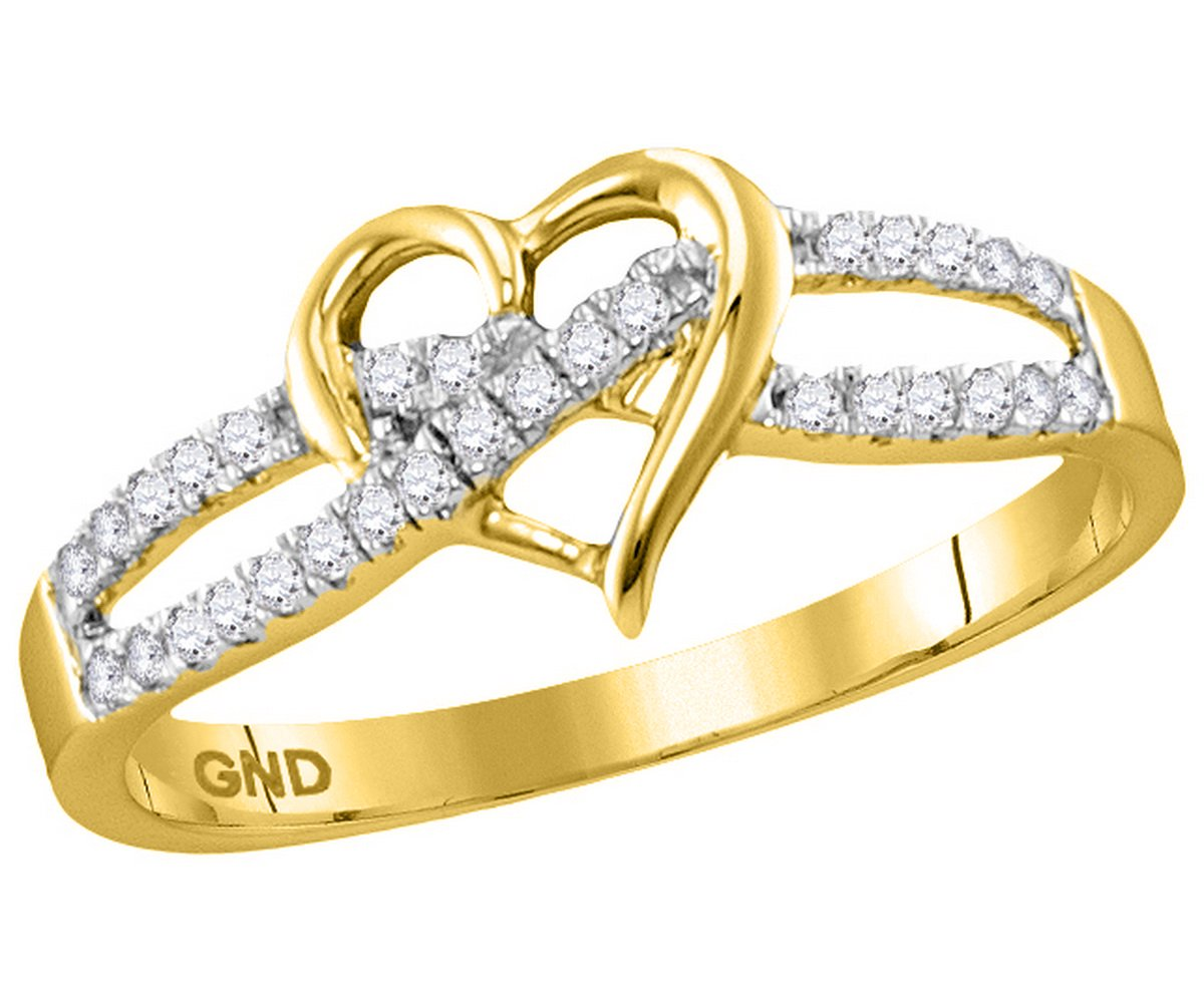 10kt Yellow Gold Womens Round Diamond Woven Heart Love Ring 1/6 Cttw (I2-I3 clarity; J-K color)