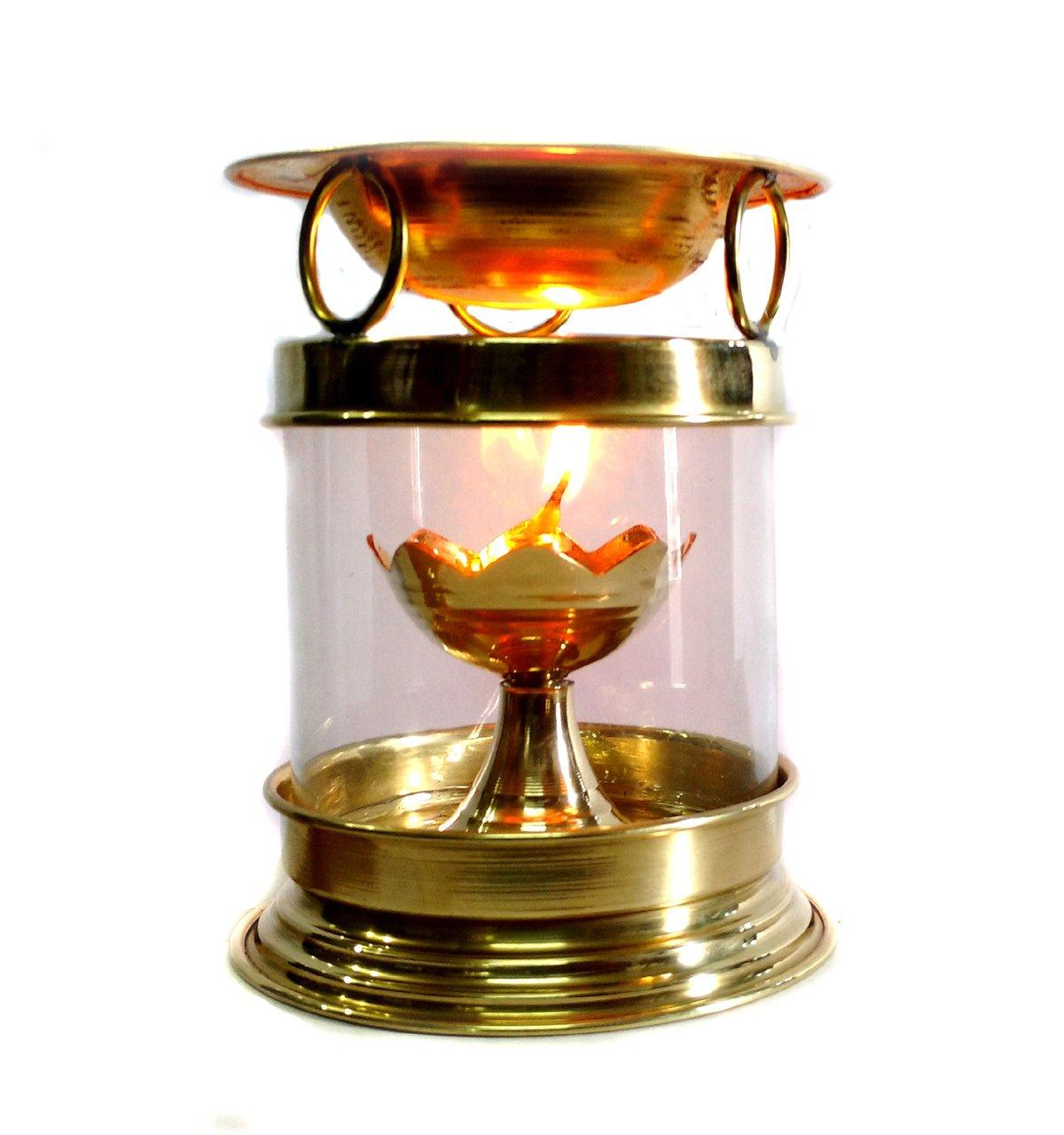 Quemador de aceite de aromaterapia de latón hindú puja Deepak lámpara de aceite–Perfume difusor de aceite con libre accesorios latón diya Rastogi Handicrafts aastha deepak brass