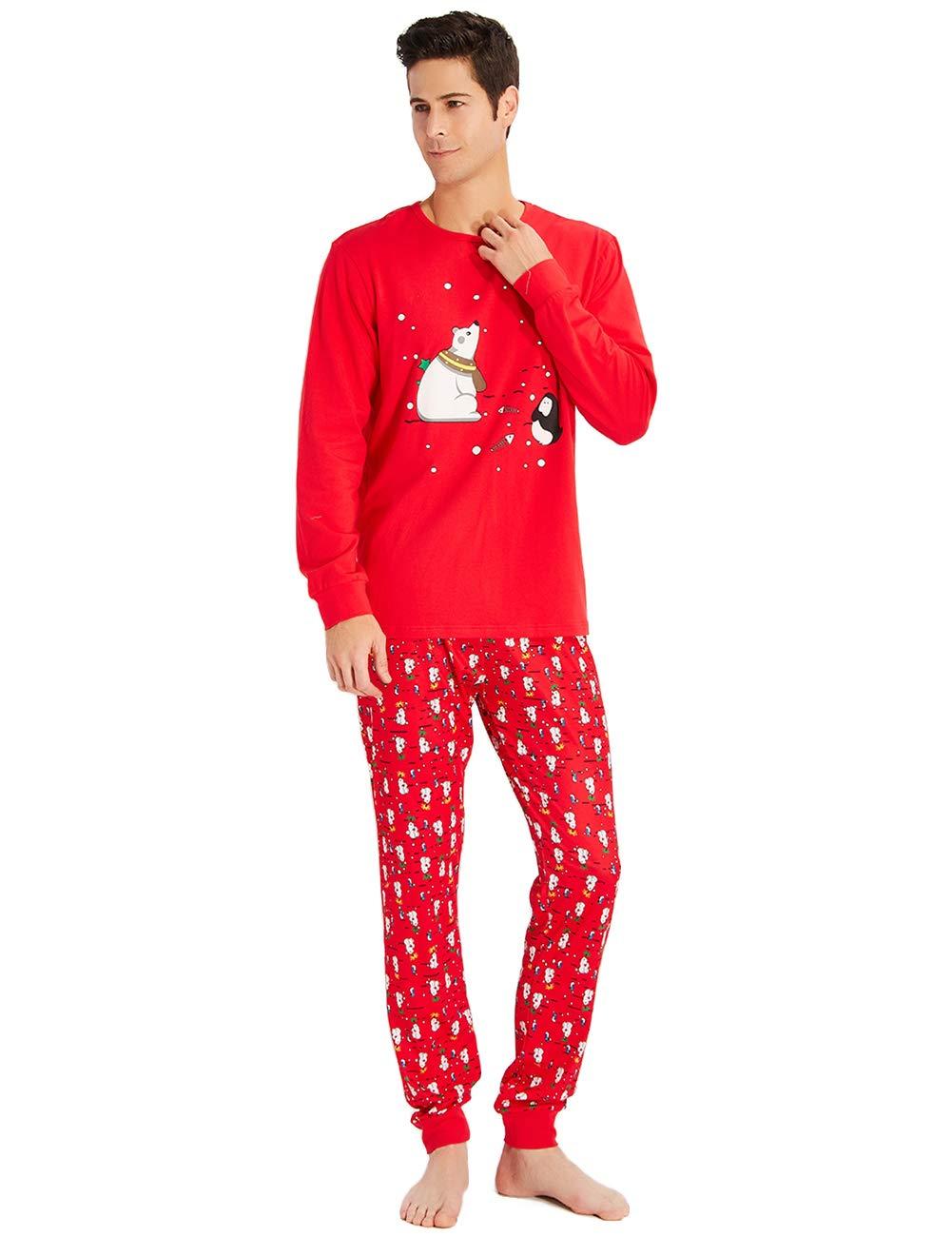 Familia Santa Papá Sleepwear Camisetas de Manga Larga + Pantalones Ropa de Dormir para Mujeres Hombres Niños Chicas Vacaciones de Invierno PJs Homewear Conjuntos de 2 Piezas M