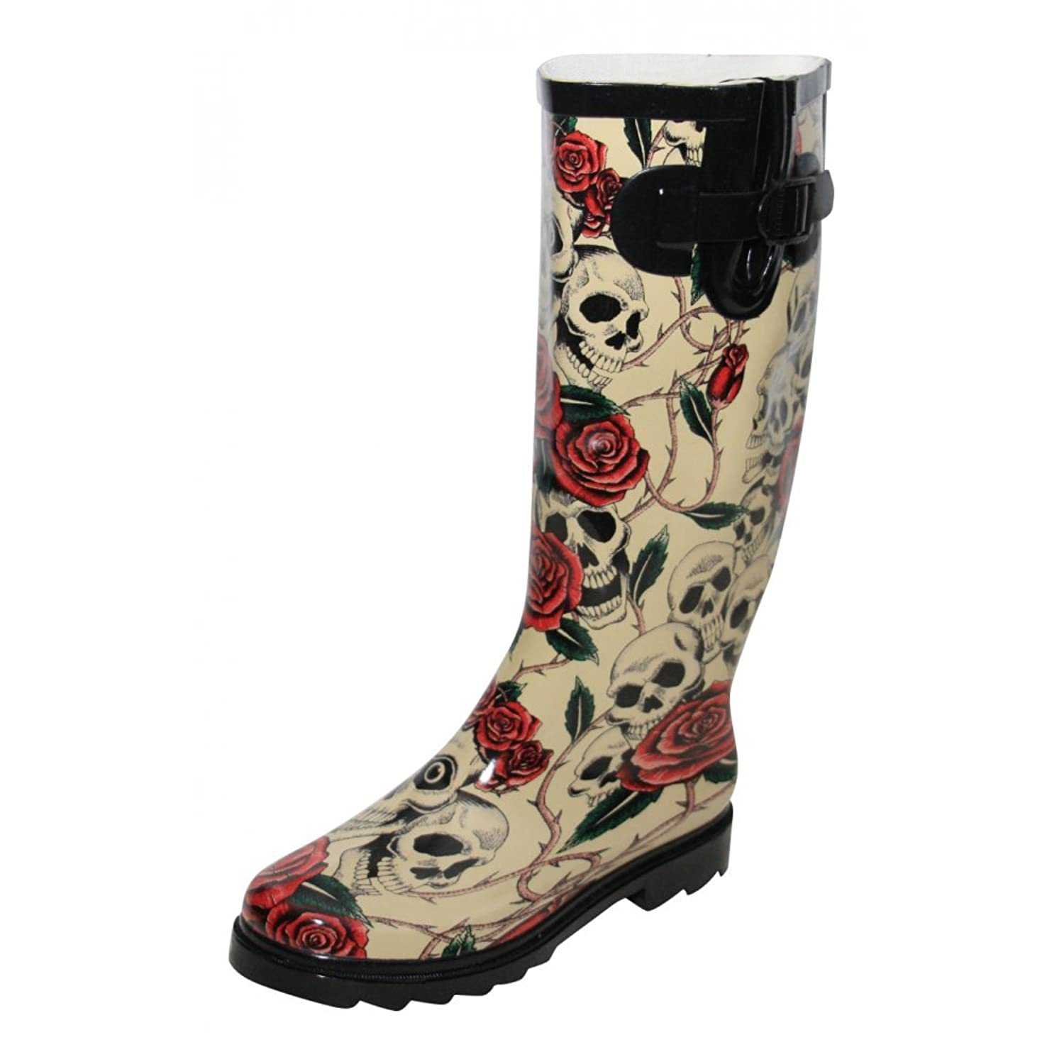 Ladies New Skull Roses Wellington Wellies Goth Flat Black Red Boots Rain Snow LO_6969