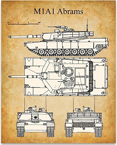 M1A1 Abrams Print - 11x14 Unframed Patent Print - Great Room Decor or Gift for (Antique Military Prints)