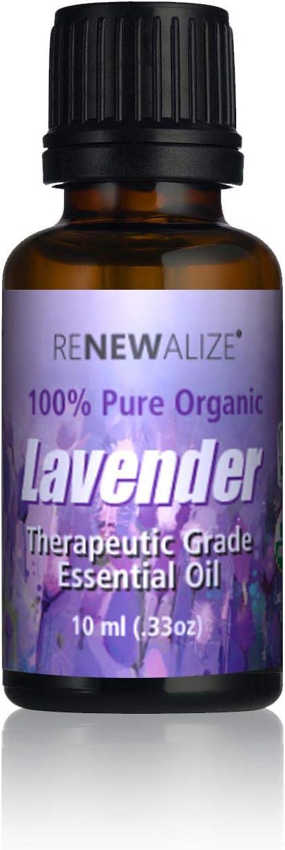 Renewalize USDA Certified Organic Aceite Esencial de Lavanda En 10 ml botella de vidrio ámbar con gotero: Amazon.es: Belleza
