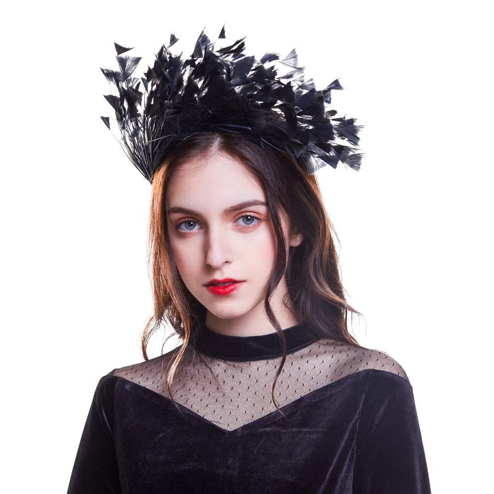 CNNIK 2019 Nueva diadema de plumas Fascinator Diadema Accesorios para el cabello Corona Decoraci/ón Cisne Masquerade Party tocado para mujeres ni/ñas damas