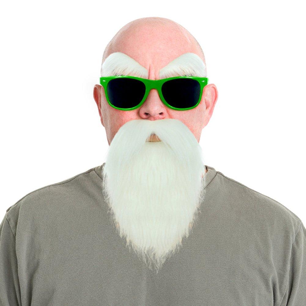Dragon Ball Kame Sennin Master Roshi Costume White Beard Mustache with Glasses