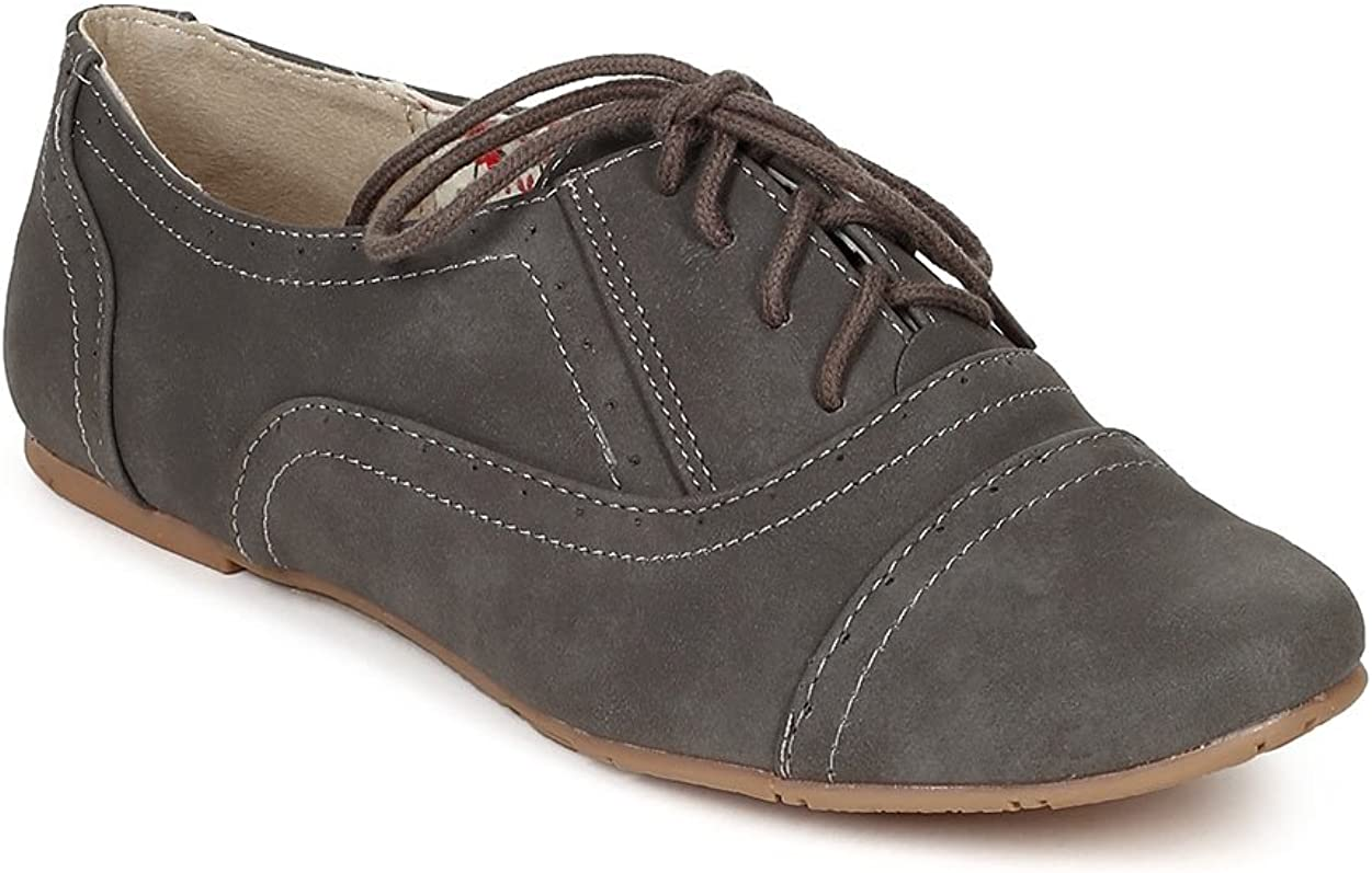 Nature Breeze Cambridge-03 Stitching Detail Lace Up Classic Oxford Flat AB66 - Grey Leatherette