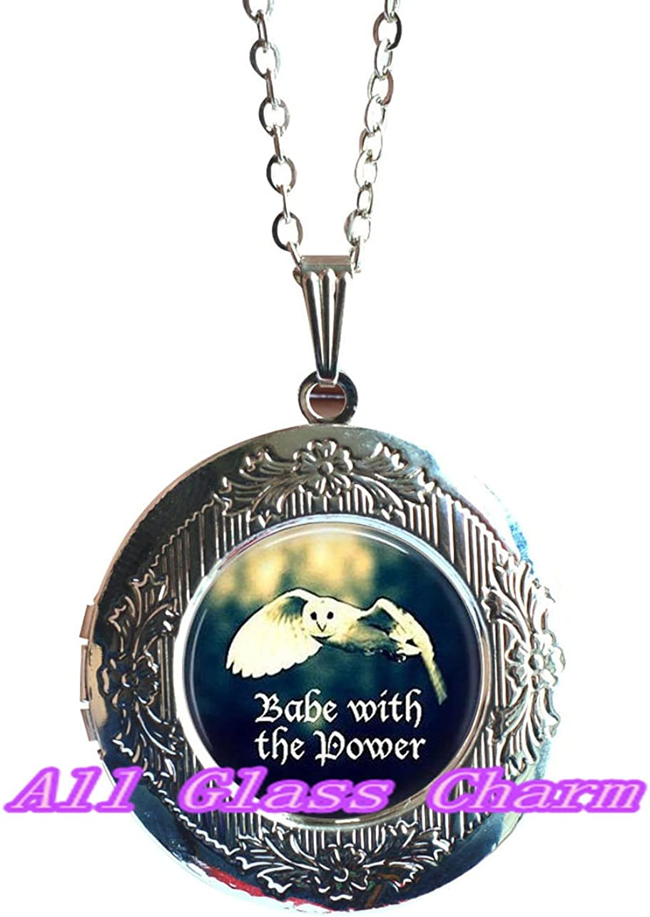 Inspirational Gift BABE with the POWER Graduation Gift for Her,AS0232 Owl Locket Necklace Locket Pendant Beautiful Locket Necklace,Owl Jewelry