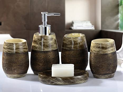 Accessori Bagno Marrone : Retro amss elegante marrone 5 pezzi set di accessori per bagno set