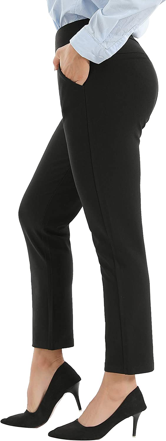 AUSIMIAR Women's Stretch Skinny Dress Pants,Super Comfy Pull-on Black Leggings for Work or Casual(Black)