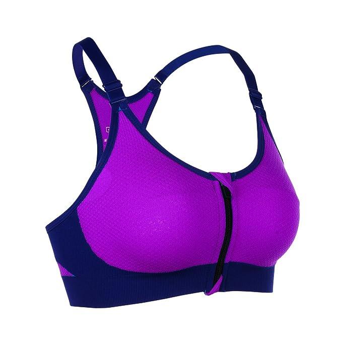 sujetador deportivo barato con tirantes finos lila neón