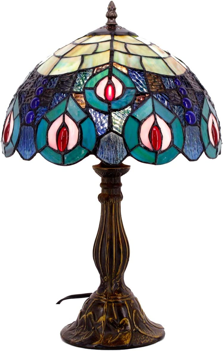 Tiffany Lamp Blue Stained Glass and Crystal Bead Peacock Style Table Lamps Height 18 Inch for Living Room Antique Desk Beside Bedroom S666 WERFACTORY
