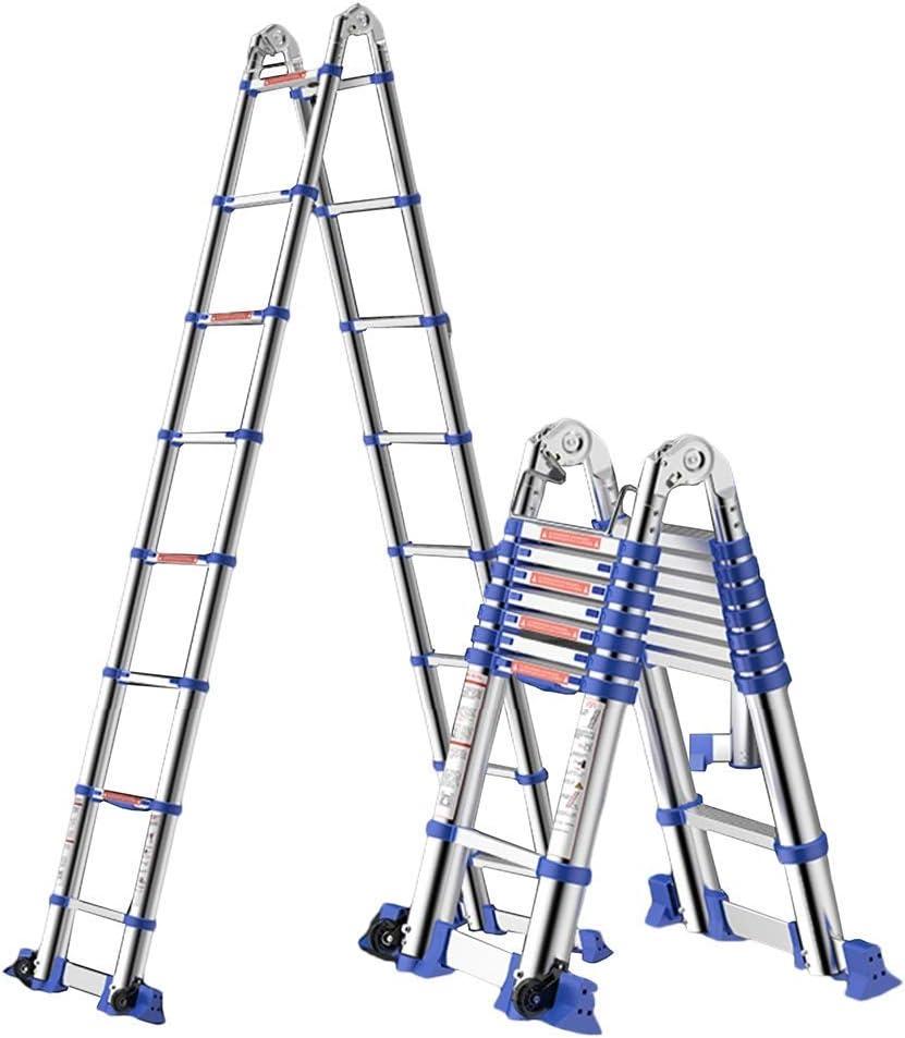 Escalera telescópica de aluminio telescópica portátil resistente multiuso con barra de soporte y bisagras, capacidad de 330 libras: Amazon.es: Bricolaje y herramientas