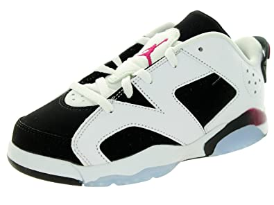 Jordan Nike Kids 6 Retro Low Gp White/Sport Fuchsia/Black Basketball Shoe 12