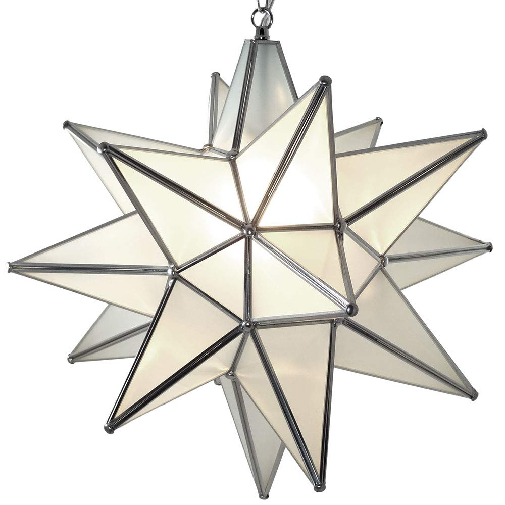 Duda home decor moravian star pendant light frosted glass silver frame 15