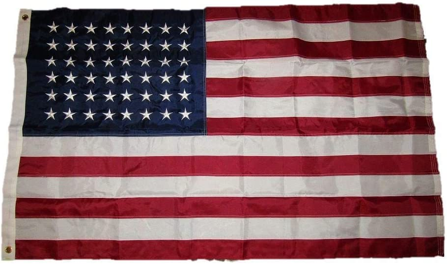 ALBATROS 3 ft x 5 ft Embroidered USA American 48 Star 210D Nylon Flag with Clips for Home and Parades, Official Party, All Weather Indoors Outdoors