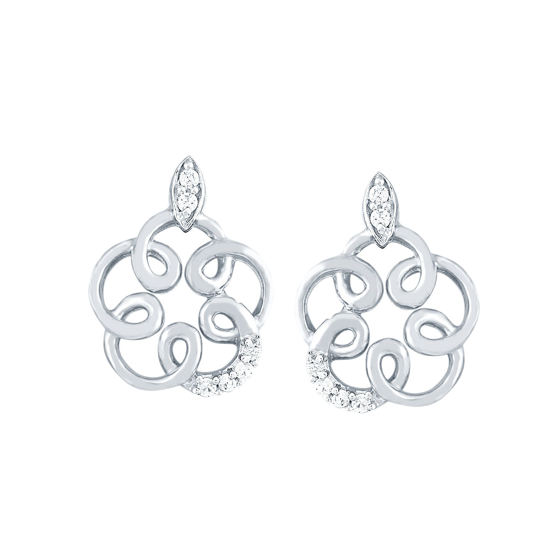 Giantti Silver Diamond Women's Stud Earring - IGL Certified ( 0.064 Ct, I1 Clarity, GH-Colour)