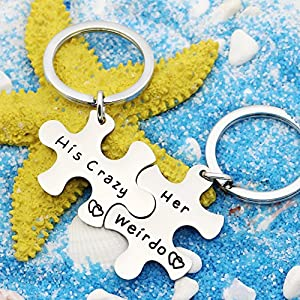 2pcs Couple Key Chain Ring Set Puzzles – Her Weirdo His Crazy – Valentine Christmas Gift Stainless Steel (Her Weirdo His Crazy A)